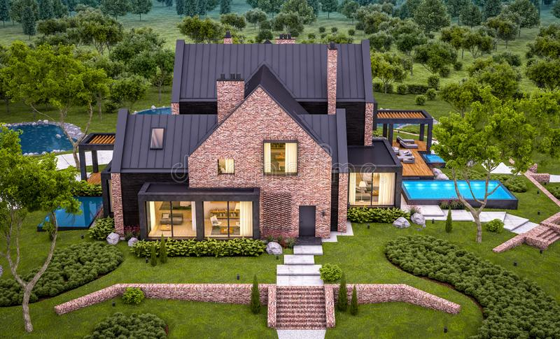 3d rendering of modern clinker house on the ponds with pool in evening. 3d rendering of modern cozy clinker house on the ponds with garage and pool for sale or royalty free stock photography