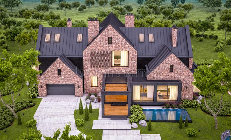 3d rendering of modern clinker house on the ponds with pool in evening. 3d rendering of modern cozy clinker house on the ponds with garage and pool for sale or royalty free stock image
