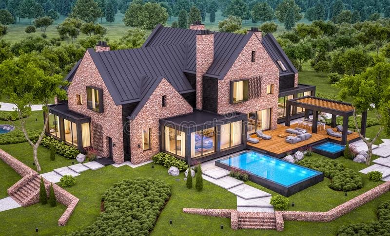 3d rendering of modern clinker house on the ponds with pool in evening. 3d rendering of modern cozy clinker house on the ponds with garage and pool for sale or royalty free stock images