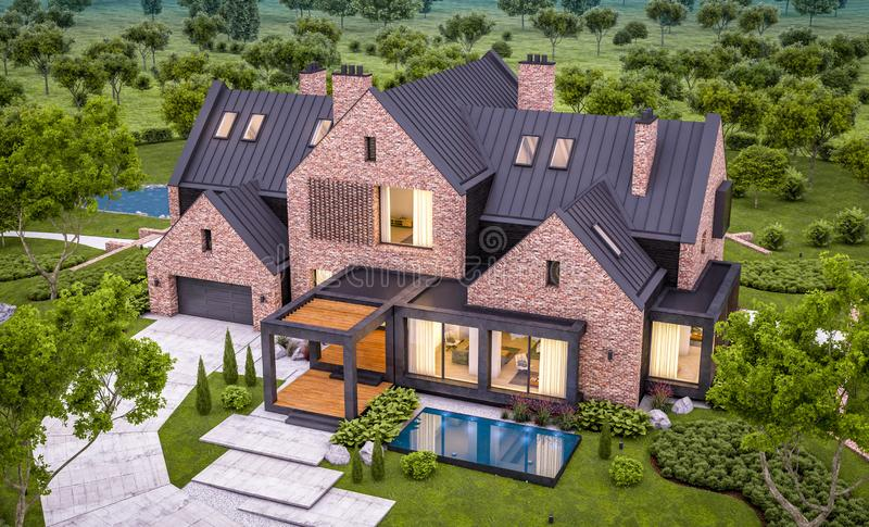 3d rendering of modern clinker house on the ponds with pool in evening. 3d rendering of modern cozy clinker house on the ponds with garage and pool for sale or stock images