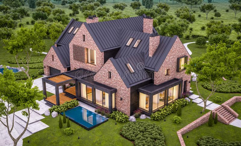 3d rendering of modern clinker house on the ponds with pool in evening. 3d rendering of modern cozy clinker house on the ponds with garage and pool for sale or stock photos