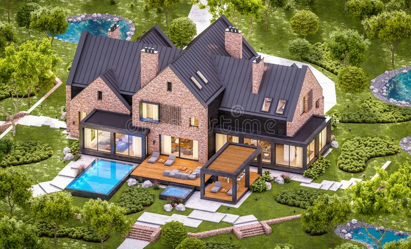 3d rendering of modern clinker house on the ponds with pool in evening. 3d rendering of modern cozy clinker house on the ponds with garage and pool for sale or stock image
