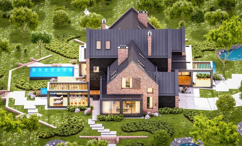 3d rendering of modern clinker house on the ponds with pool in evening. 3d rendering of modern cozy clinker house on the ponds with garage and pool for sale or royalty free stock photos