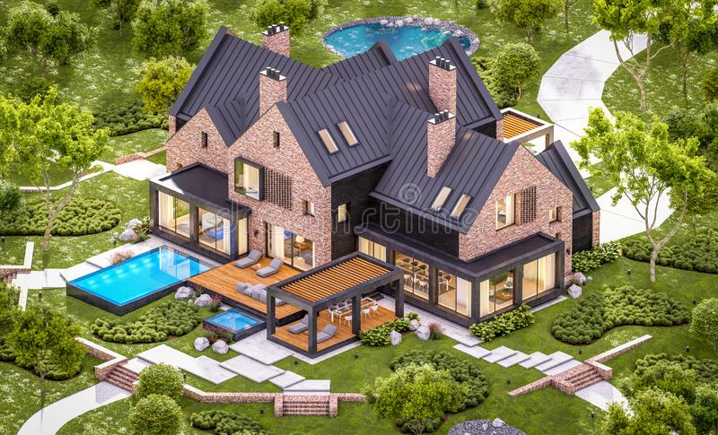 3d rendering of modern clinker house on the ponds with pool in evening. 3d rendering of modern cozy clinker house on the ponds with garage and pool for sale or stock photo