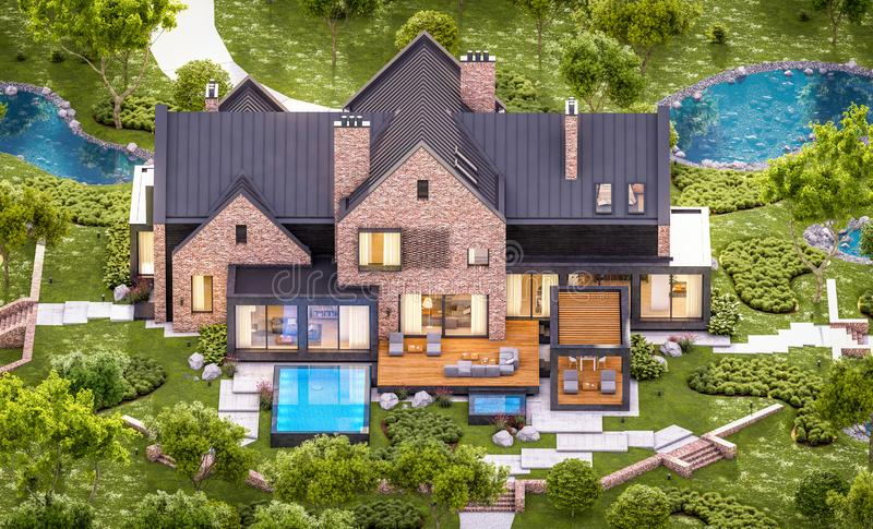3d rendering of modern clinker house on the ponds with pool in evening. 3d rendering of modern cozy clinker house on the ponds with garage and pool for sale or royalty free stock photo