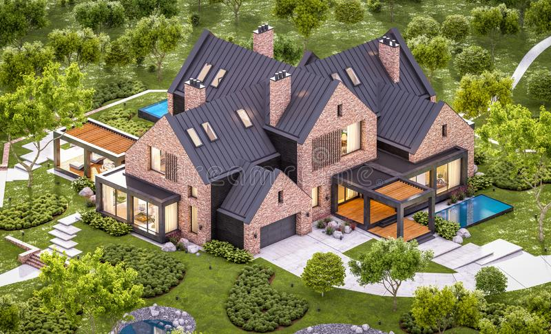 3d rendering of modern clinker house on the ponds with pool in evening stock photo