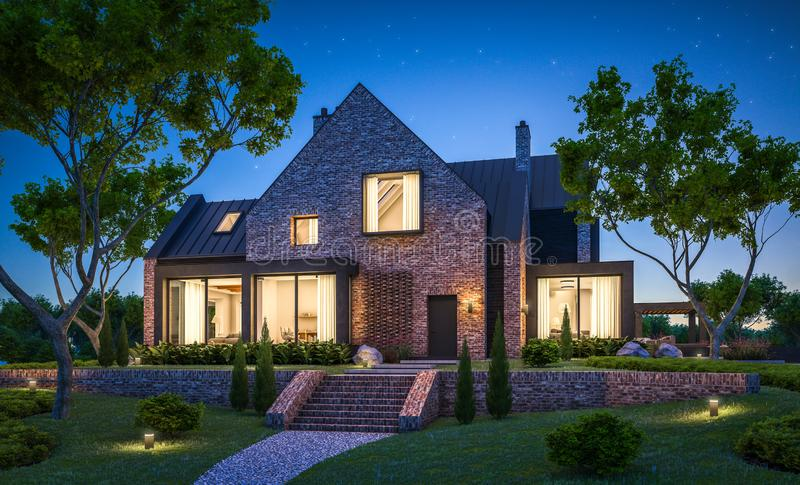 3d rendering of modern clinker house on the ponds with pool in night stock photography