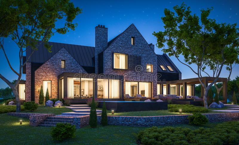 3d rendering of modern clinker house on the ponds with pool in night royalty free stock photo