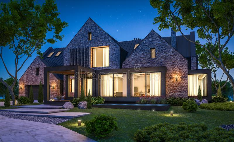 3d rendering of modern clinker house on the ponds with pool in night royalty free stock photography