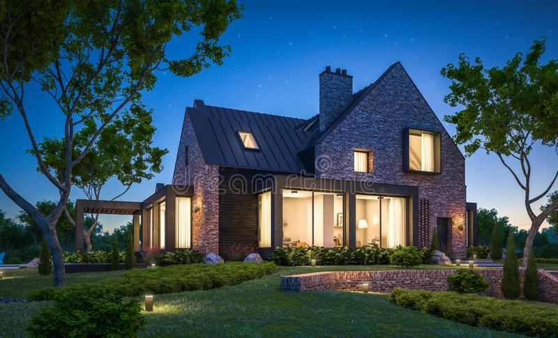 3d rendering of modern clinker house on the ponds with pool in night stock photos