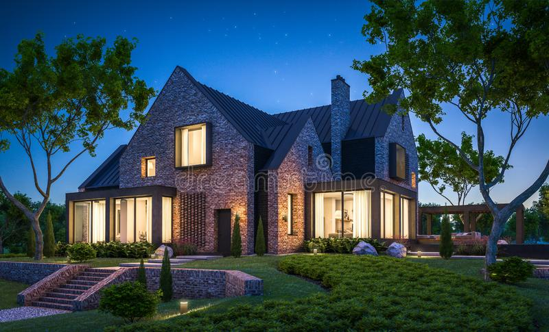 3d rendering of modern clinker house on the ponds with pool in night royalty free stock images