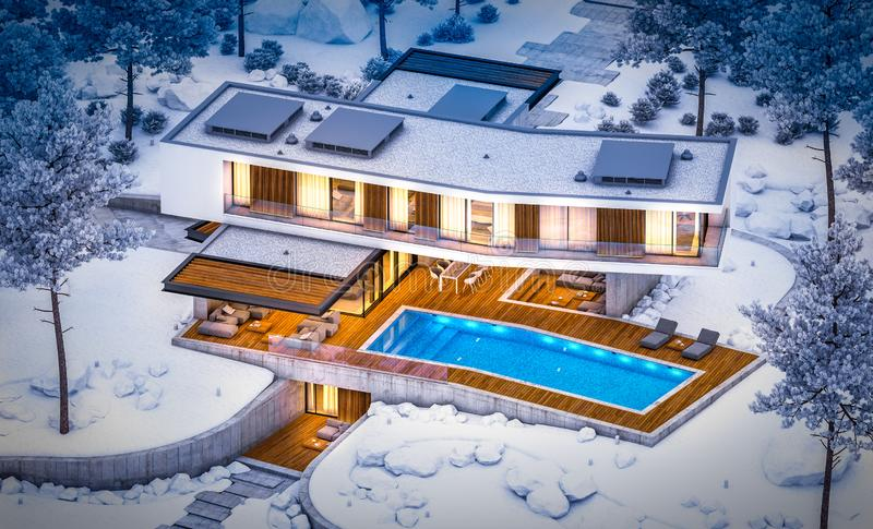 3d rendering of modern clinker house on the ponds with pool in winter night stock photos