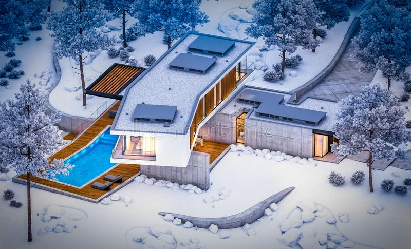 3d rendering of modern clinker house on the ponds with pool in winter night royalty free stock photo