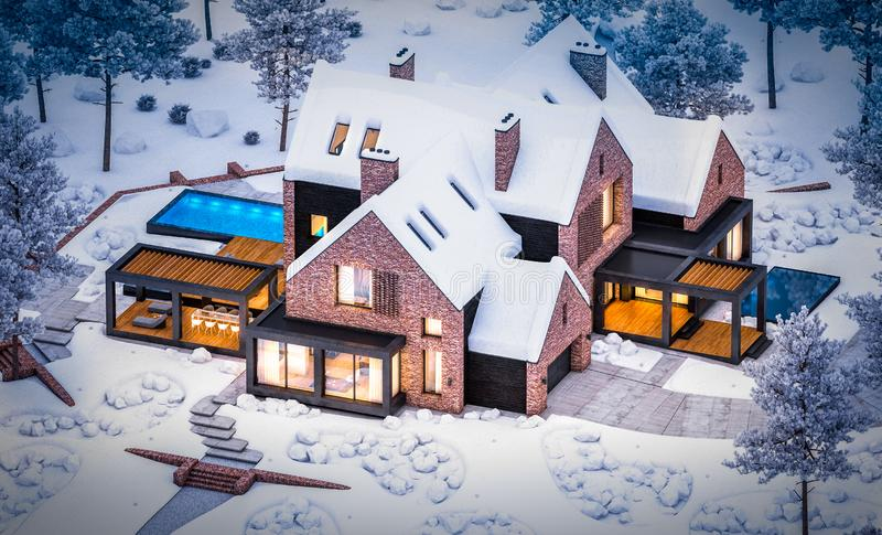 3d rendering of modern clinker house on the ponds with pool in winter night stock images