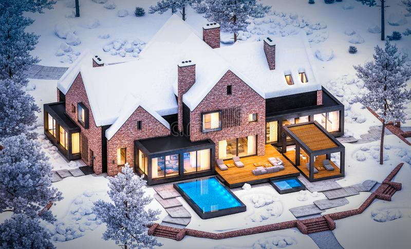 3d rendering of modern clinker house on the ponds with pool in winter night royalty free stock photography