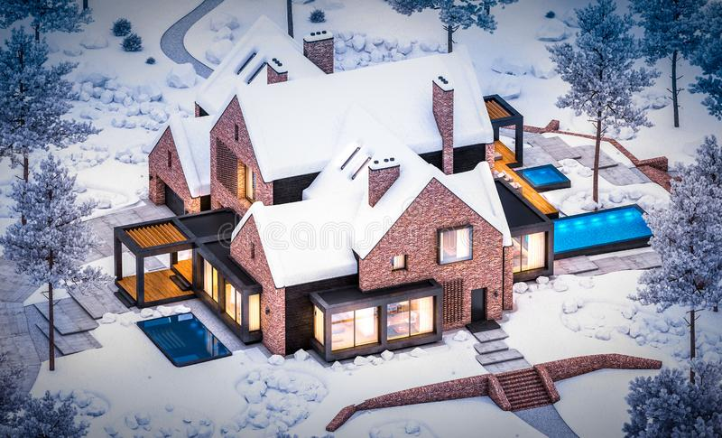 3d rendering of modern clinker house on the ponds with pool in winter night stock photography