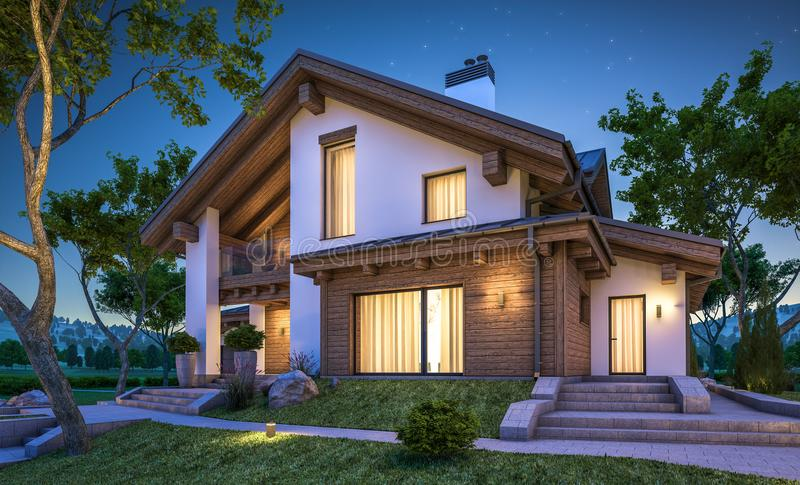3d rendering of modern cozy house in chalet style stock for Chalet style homes for sale