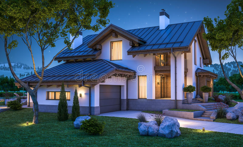 3d rendering of modern cozy house in chalet style vector illustration