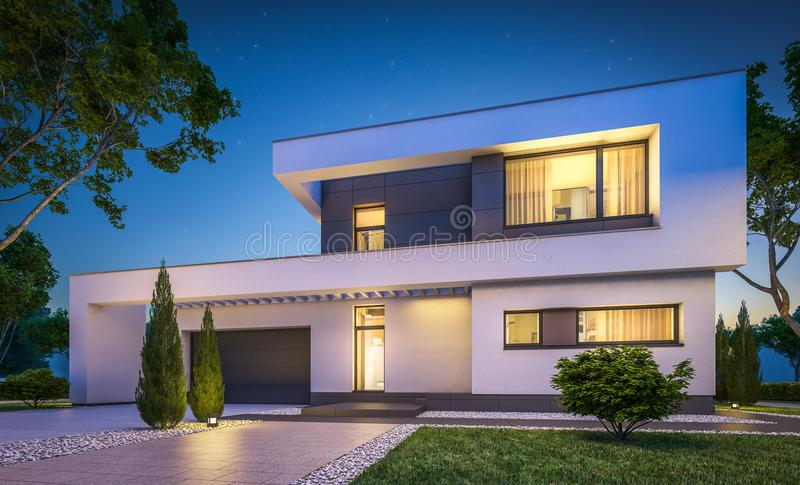 3d rendering of modern house at night stock illustration