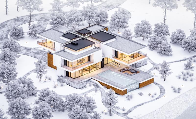 3d rendering of modern cozy house by the river with garage. Cool winter evening with cozy warm light from windows. For sale or. Rent with beautiful mountains on royalty free stock photos