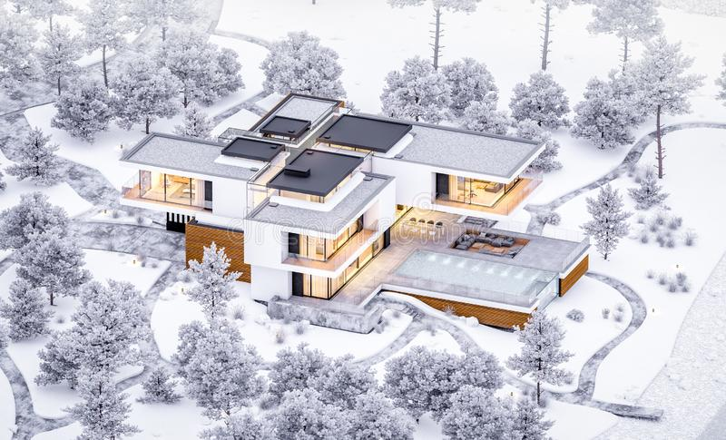 3d rendering of modern cozy house by the river with garage. Cool winter evening with cozy warm light from windows. For sale or. Rent with beautiful mountains on royalty free stock images