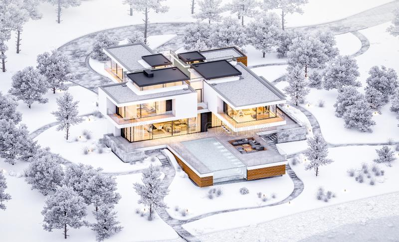3d rendering of modern cozy house by the river with garage. Cool winter evening with cozy warm light from windows. For sale or. Rent with beautiful mountains on stock photo