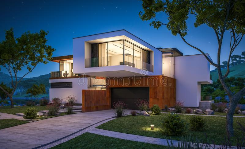 3d rendering of modern house by the river royalty free stock photos
