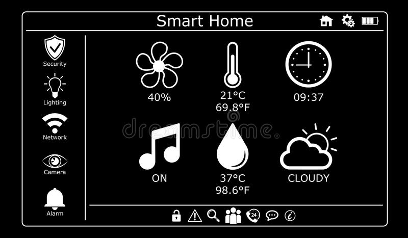 3D rendering modern digital smart house interface. On dark background royalty free illustration