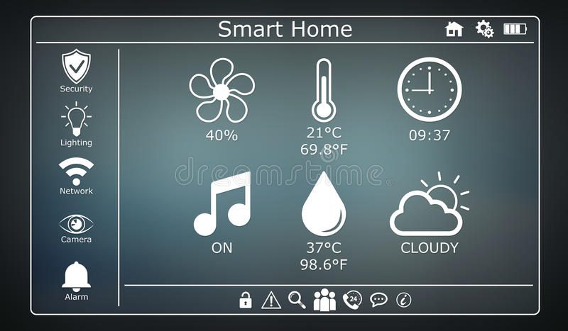 3D rendering modern digital smart house interface. On grey background royalty free illustration