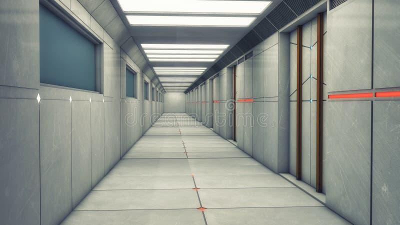 Modern and futuristic spaceship corridor. 3d rendering. Modern and futuristic spaceship corridor royalty free stock photography