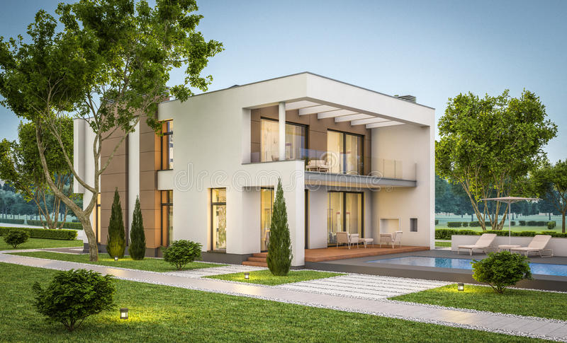 3d rendering of modern house at evening royalty free illustration