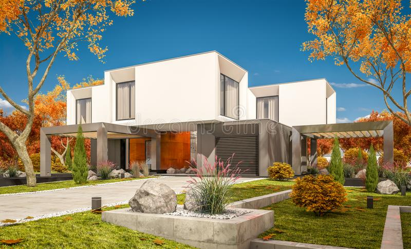 3d rendering of modern house in the garden сlear sunny autumn day. 3d rendering of modern cozy house in the garden with garage for sale or rent with beautiful royalty free illustration
