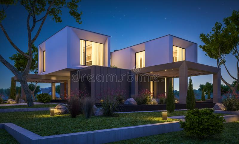 3d rendering of modern house in the garden at night stock images