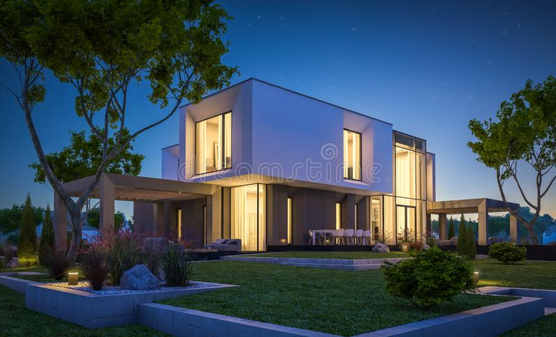 3d rendering of modern house in the garden at night stock photography