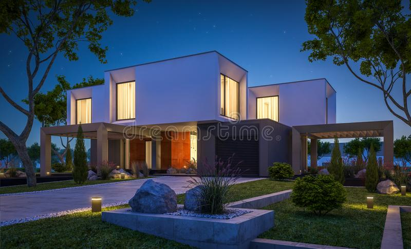 3d rendering of modern house in the garden at night stock image