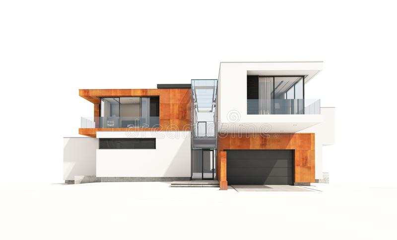 3d rendering of modern house isolated on white. 3d rendering of modern cozy house by the river with garage for sale or rent. Isolated on white royalty free stock photo