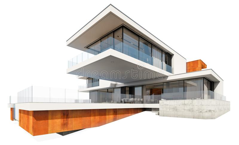 3d rendering of modern house isolated on white. royalty free stock image