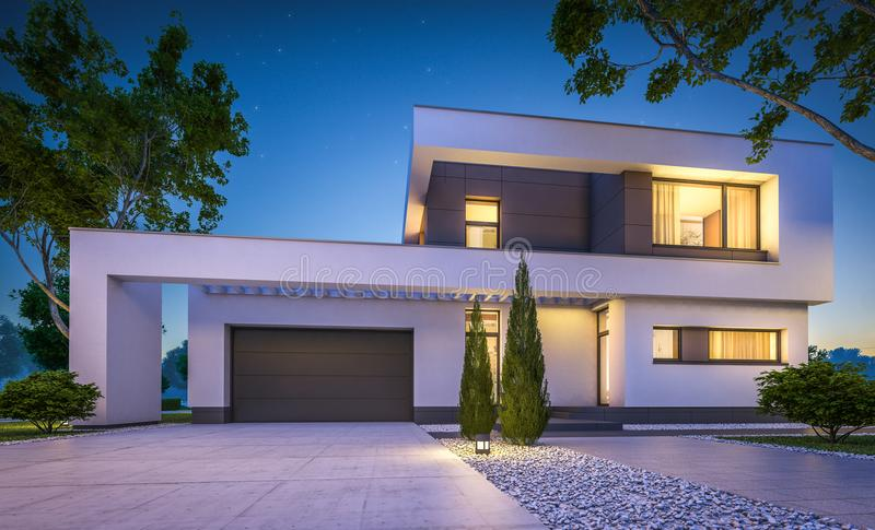 3d rendering of modern house at night royalty free stock photo
