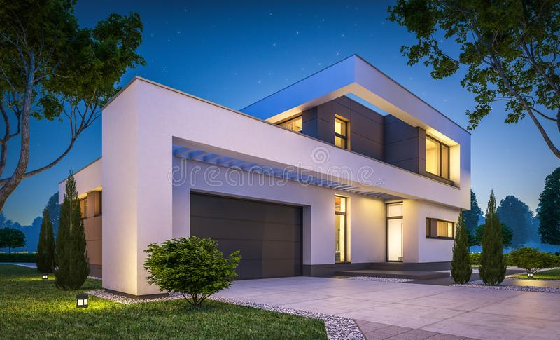 3d rendering of modern house at night vector illustration