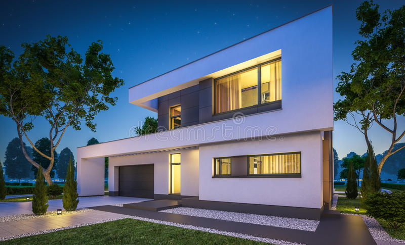 3d rendering of modern house at night. 3d rendering of modern cozy house with garage for sale or rent with many grass on lawn. Clear summer night with stars on royalty free illustration