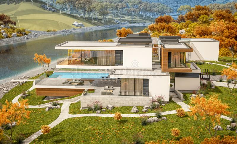 3d rendering of modern house by the river. 3d rendering of modern cozy house by the river with garage for sale or rent with beautiful mountains on background stock illustration