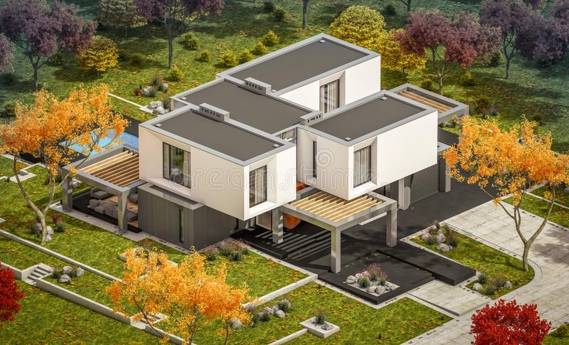 3d rendering of modern house by the river. 3d rendering of modern cozy house in the garden with garage for sale or rent with beautiful trees on background. Clear stock illustration
