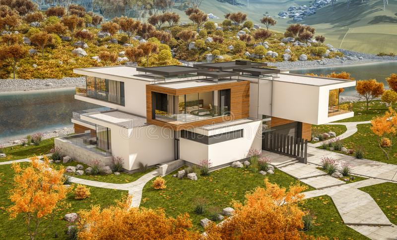 3d rendering of modern house by the river. 3d rendering of modern cozy house by the river with garage for sale or rent with beautiful mountains on background vector illustration