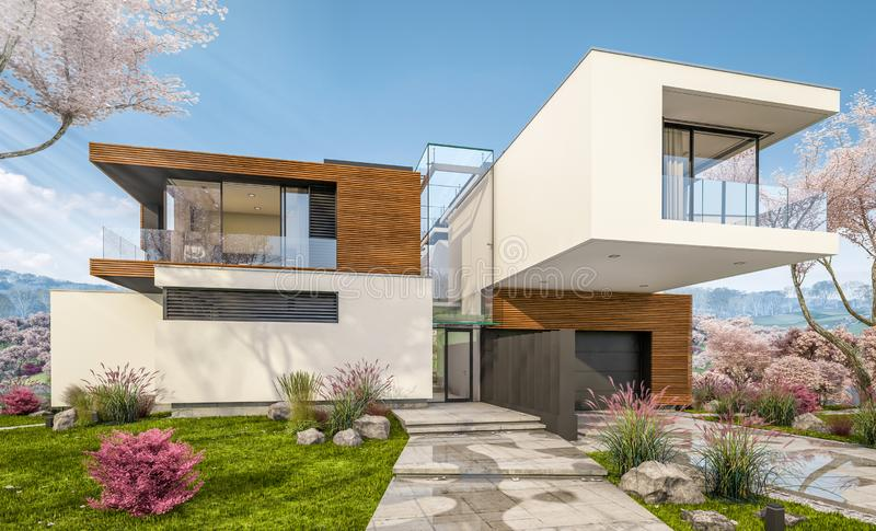 3d rendering of modern house by the river in spring stock photos