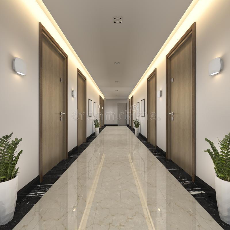 Download 3d Rendering Modern Luxury Wood And Tile Hotel Corridor Stock  Illustration   Illustration Of Hallway