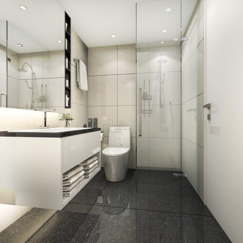 Download 3d Rendering Modern Minimal Toilet And Shower Stock Illustration