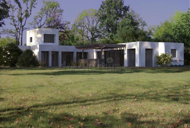 3d rendering modern minimalistic exterior design house. 3d modern monimalistic exterior design house 3D RENDER BUILDING DESIGN villa suburb royalty free illustration