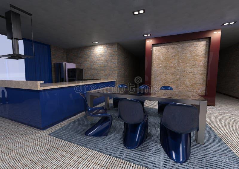 3D Rendering Studio Apartment Interior. 3D rendering of a modern studio apartment interior vector illustration