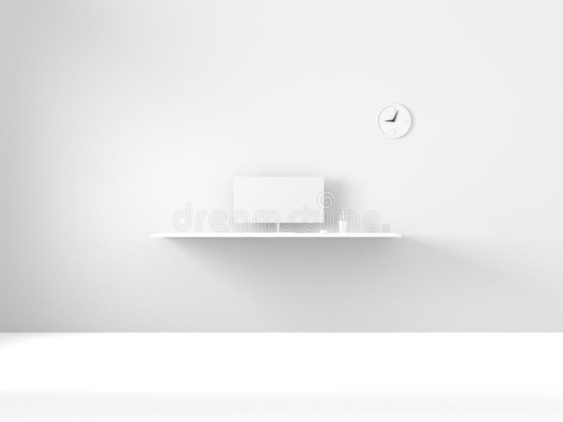 3D Rendering of modern white interior work space home office. royalty free stock images