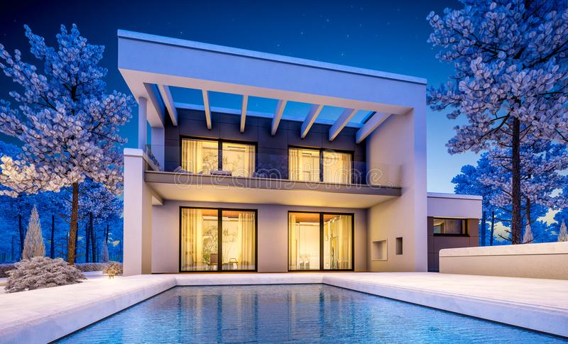 Download 3d Rendering Of Modern Winter House At Night Stock Illustration
